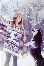 Preview iPhone wallpaper Sweater girl and dogs in snow winter