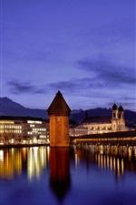 Switzerland, Lucerne, temples, mountains, water reflection, river, bridge, lights