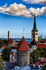 Tallinn, Estonia, city, tower, houses, clouds