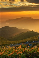 Preview iPhone wallpaper Thailand, mountains, dawn, clouds, sunrise, fog, road, cars