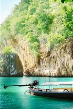 Preview iPhone wallpaper Thailand scenery, coast, sea, boat, cliff, leaves, sunshine