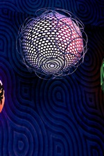Preview iPhone wallpaper Three balls, braiding, 3D design