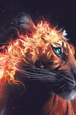 Preview iPhone wallpaper Tiger look back, fire, beast, Desktopography art design