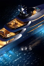Preview iPhone wallpaper Top view the superyacht, night, lights