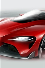 Preview iPhone wallpaper Toyota FT-1 red supercar figure