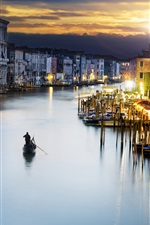 Preview iPhone wallpaper Travel to Venice, canal, boats, houses, lights, dusk, Italy