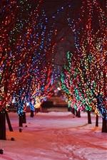 미리보기 iPhone 배경 화면 나무, 밤, 눈, 겨울, 아름다운 휴가 조명