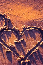 Preview iPhone wallpaper Two love hearts, beach, sunset