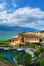Preview iPhone wallpaper Veneto, Torri del Benaco, Italy, city, bay, houses, boats, clouds