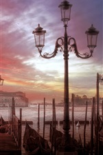 Preview iPhone wallpaper Venice, city, boats, river, houses, clouds, sunset