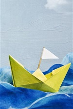 Preview iPhone wallpaper Wave, ship, creative art