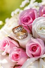 iPhone壁紙のプレビュー 結婚式の花、花束、ピンクと白のバラ、リング