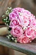 Preview iPhone wallpaper Wedding flowers, bouquet, pink roses