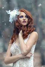White dress girl in the winter, trees, snowflakes