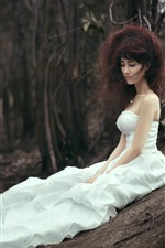 Preview iPhone wallpaper White skirt Asian bride lost in forest