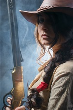 Preview iPhone wallpaper Wild west girl, rifle in hands, cowboy hat