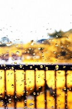 Preview iPhone wallpaper Window glass, autumn, rain, water drops