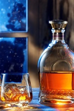 Preview iPhone wallpaper Window, night, bottle, whiskey, glass cups, drinks, ice cube, Christmas