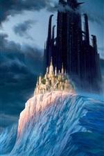 Inverno, montanhas, neve, gelo, nuvens, castelo, cidade, arranha-céus, mundo de fantasia