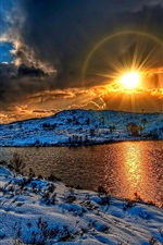 Preview iPhone wallpaper Winter, snow, lake, clouds, sunset, sun, HDR style