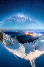 Preview iPhone wallpaper Winter, snow, mountains, night, milky way, stars