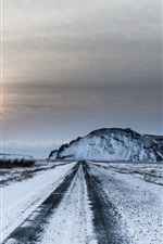 Preview iPhone wallpaper Winter, snow, road, sky, sunset, dusk
