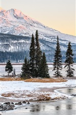 Preview iPhone wallpaper Winter, snow, trees, mountains, snow, river, USA nature landscape