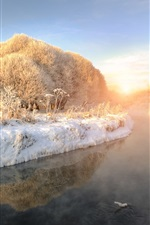 Preview iPhone wallpaper Winter, thick snow, river, trees, frozen, sunrise, fog, dawn