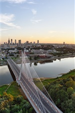 Preview iPhone wallpaper Wisla, Warsaw, Poland, city, houses, bridge, river, sunset