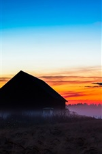 Preview iPhone wallpaper Wooden house, sunrise, red sky, fog, morning