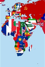 Preview iPhone wallpaper World Map in 1930, flags, countries