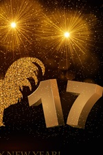 Preview iPhone wallpaper Year of the Rooster 2017, golden style, Happy New Year