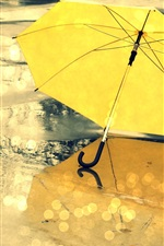 Preview iPhone wallpaper Yellow umbrella, street, rain