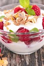 Preview iPhone wallpaper Yogurt, dessert, berries, raspberry, sweet food