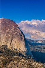 Preview iPhone wallpaper Yosemite National Park, USA, mountains, clouds, forest, rock