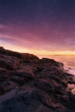 Preview iPhone wallpaper Acadia National Park, Maine, USA, sunset, sea, coast, stones, trees