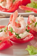 Preview iPhone wallpaper Appetizer, tomatoes, shrimp