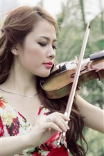 Preview iPhone wallpaper Asian girl, violin, music, nature