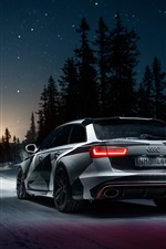 Audi RS6 car rear view, winter, snow, night
