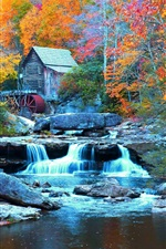 Preview iPhone wallpaper Babcock State Park, USA, waterfall, stream, trees, house, autumn