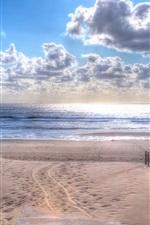 Preview iPhone wallpaper Beach, sands, grass, sea, clouds
