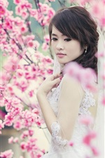 Preview iPhone wallpaper Beautiful Asian girl, bride, spring, cherry flowers