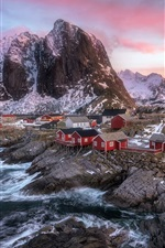 Preview iPhone wallpaper Beautiful Norway landscape, mountains, sea, houses