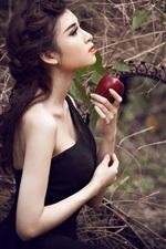 Preview iPhone wallpaper Beautiful black dress girl, hands, apple
