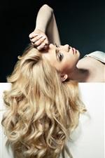Beautiful blonde girl, long hair, pose, sexy