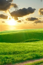 Preview iPhone wallpaper Beautiful green grass, morning, hills, road, clouds, sunrise