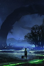 Preview iPhone wallpaper Beautiful night, trees, stars, fireflies, boy, sky, art pictures