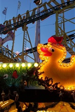 Berlin, roller coaster, carousel, playground, toy duck, lights