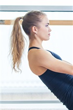 Preview iPhone wallpaper Blonde girl, sportswear, yoga, sport
