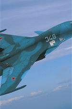 Preview iPhone wallpaper Blue fighter flight in sky